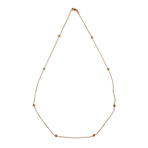 Diamond By The Yard 14k Pink Gold 18 Inch .18ct Necklace