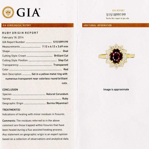 GIA Certified 1.51 Carat  Red Burma Ruby Diamond Yellow Gold Ring
