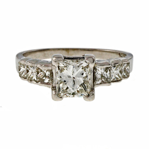 Estate .75ct Princess Cut Diamond 14k White Gold Engagement Ring
