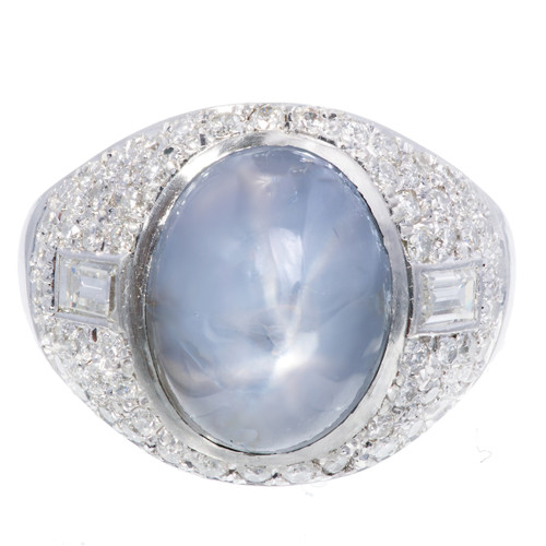 Art Deco GIA Certified 5.00ct Violet Blue Star Sapphire Diamond Platinum Ring