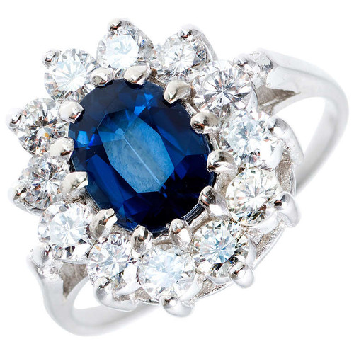 GIA Certified  1.63 Carat Blue Sapphire Diamond White Gold Ring
