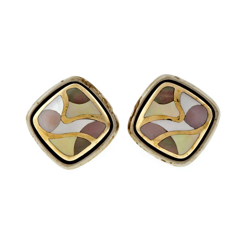 Asch Grossbardt Silver 18k Cushion Shape Mother Of Pearl Earrings Inlaid Stone