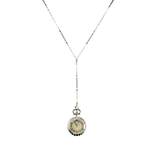 Longines Grey Blue White Gold Art Deco Enamel Watch Pendant