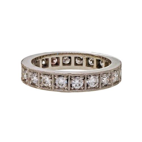 Peter Suchy 3.9mm Eternity Bead Set Wedding Band Ring 1.00ct Platinum