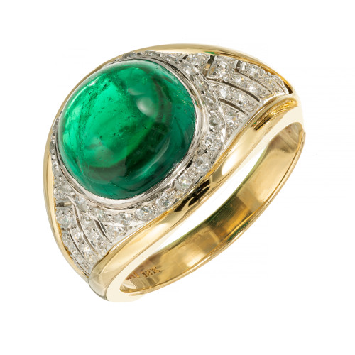 GIA Certified 5.15 Carat Colombian Emerald Diamond Gold Platinum Engagement Ring