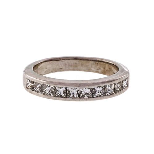 Estate 10 Princess Cut Diamond Channel Set Band Ring Platinum