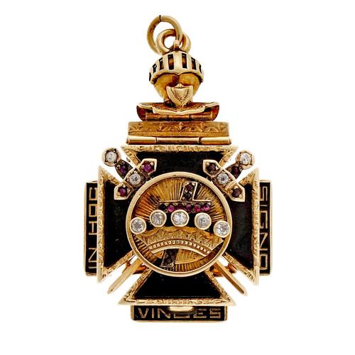 Masonic 32nd Degree Hinged Cross Medal 1908 Diamond Black Enamel