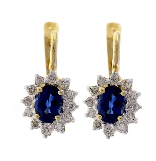 Vintage 1970 14k Yellow Gold 1.20ct Sapphire Diamond Earrings
