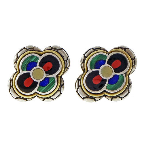 Asch Grossbardt Silver 18k Coral Lapis Malachite Hardstone Inlay Earrings