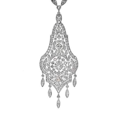 Belle Epoque Edwardian Important  Platinum Diamond Pendant Necklace 7.84ct