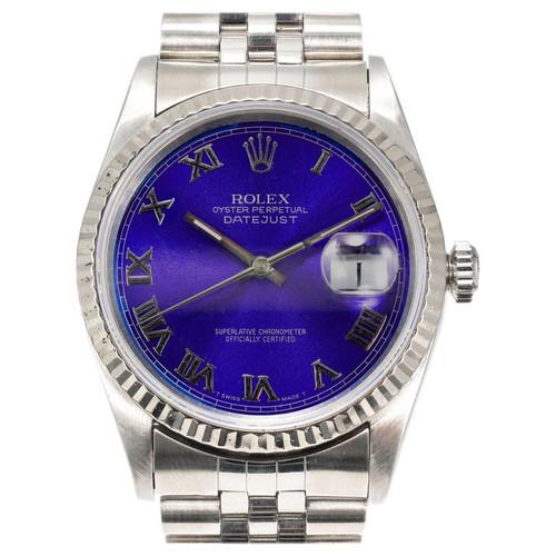 Rolex Datejust Steel White Gold Purple Blue Dia Roman Numerals Wristwatch