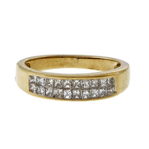 Estate 1.20ct Two Row Princess Cut Fine Diamond Band Ring