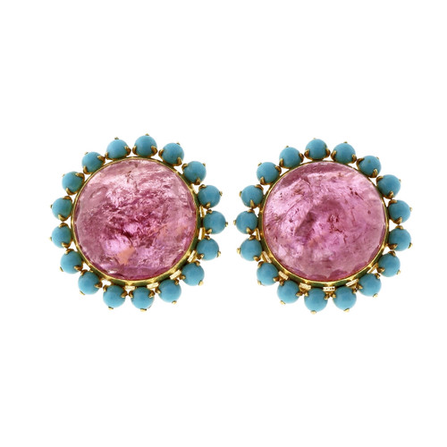 1950 Pink Tourmaline Persian Turquoise 14k Yellow Gold Earrings