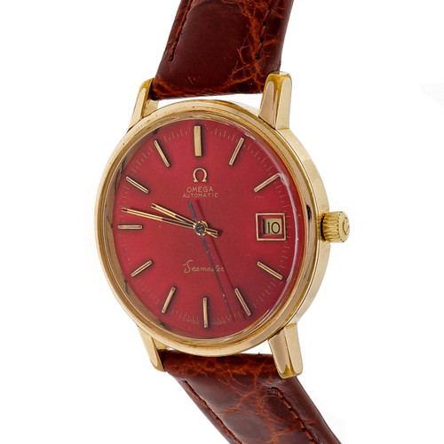 Omega stainless Steel yellow Gold Filled Automatic Date Red Dial Wristwatch