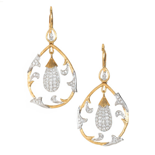 Cordova 1980 18k Two Tone .75ct Diamond Dangle Earrings