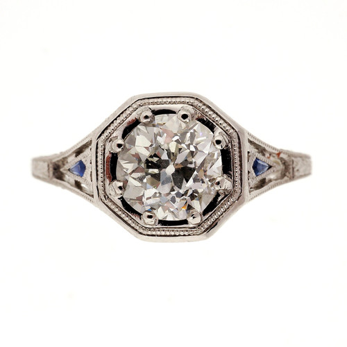 Art Deco 1.00 Carat Diamond Platinum Engagement Ring