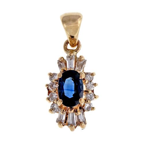 Vintage 1960 .65ct Sapphire Baguette Round Diamond Pendant