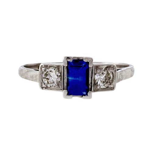 Vintage Estate Platinum Diamond 0.27ct Emerald Cut Sapphire Engagement Ring