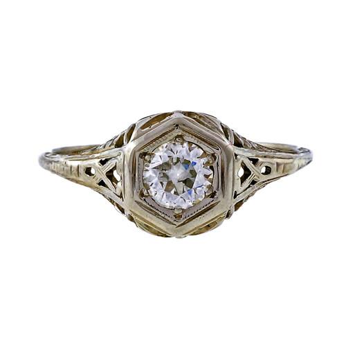 Vintage 1940 Old European Cut .40ct 18k White Gold Filigree Engagement Ring