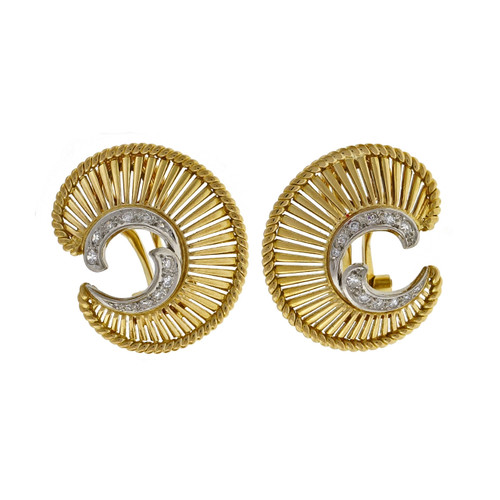 Vintage 1950 Open Work Swirl Diamond 18k Gold Earrings