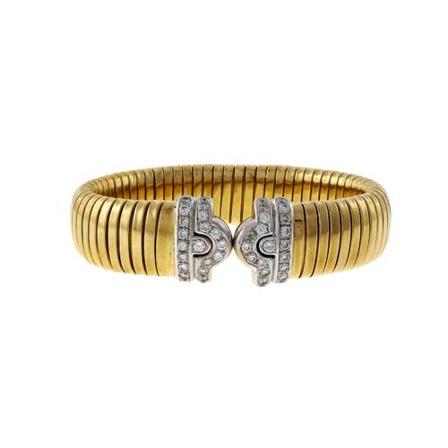 Vintage Tubogas 18k Yellow White Gold Diamond 1.36ct Heavy Bracelet