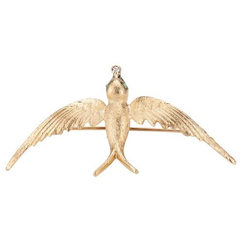 .15 Carat Diamond Turquoise Yellow Gold Mid-Century Swallow Brooch
