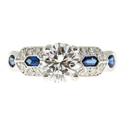 Art Deco 1.27 Carat Diamond Blue Sapphire Platinum Engagement Ring