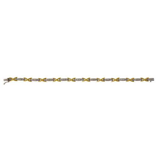 "Vintage 1960 1.00ct 18k ""X"" Diamond Bracelet"