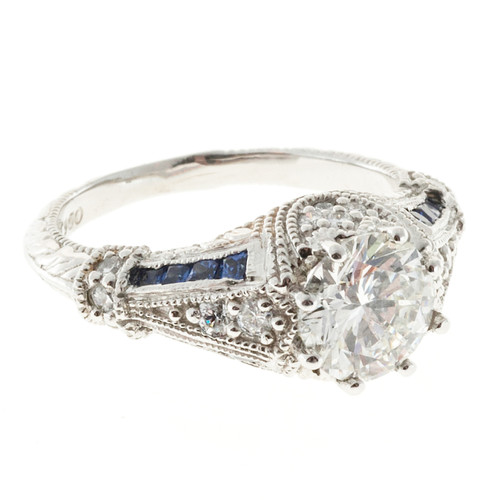 1.51 Carat Diamond Blue Sapphire Platinum Engagement Ring