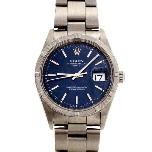 1999 Steel Rolex Date 15210 Factory Blue Dial