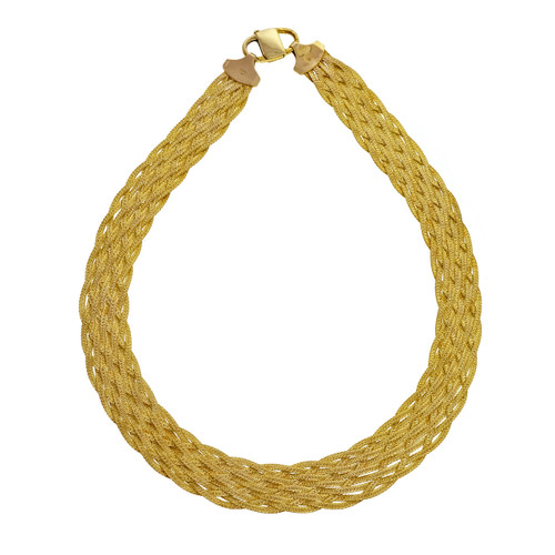 Vintage 1960 10 Strand Woven Italian Double Sided Necklace Chain