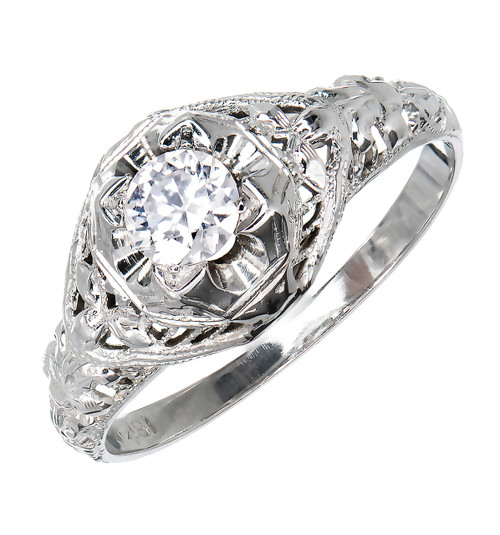 Vintage 1940 18k White Gold Ring .25ct Transitional European Cut Engagement Ring