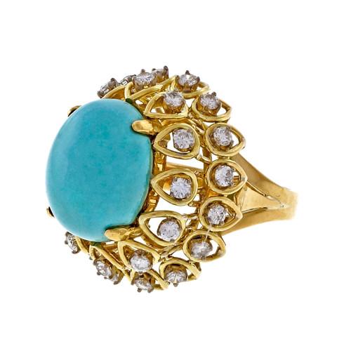 1960 Jack Gutschneider Persian Turquoise Diamond 18k Yellow Gold High Dome Ring