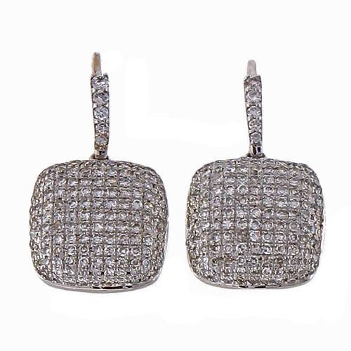 1990 BH Designer .90ct Diamond Pave Cushion 14k White Gold Earrings