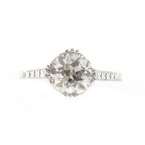 Vintage Filigree Old European Cut 1.85ct Diamond Platinum Engagement Ring