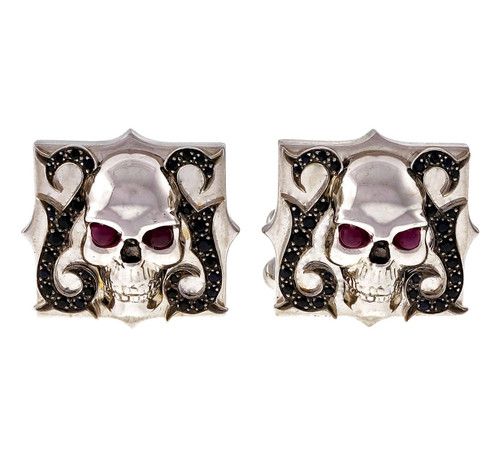 Stephen Webster 18k White Gold Skull & Bone Ruby Sapphire Cufflinks