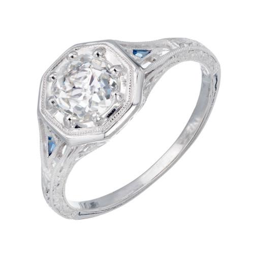 Peter Suchy GIA Certified 1.01 Carat Diamond Sapphire Platinum Engagement Ring