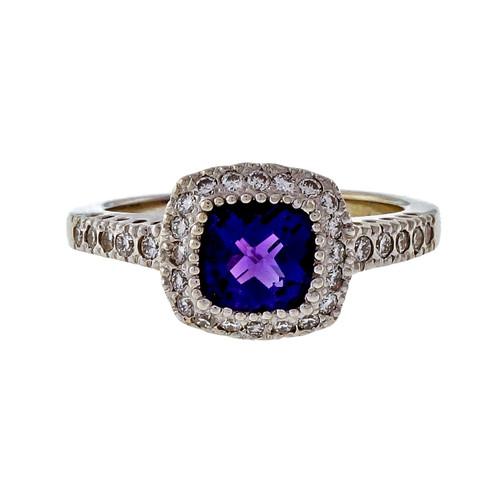 Estate KRI Checkerboard Amethyst 1.50ct 14k White Gold Diamond Ring