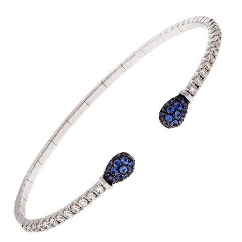 Spark Designer 18k White Gold Diamond Sapphire Cuff Bracelet