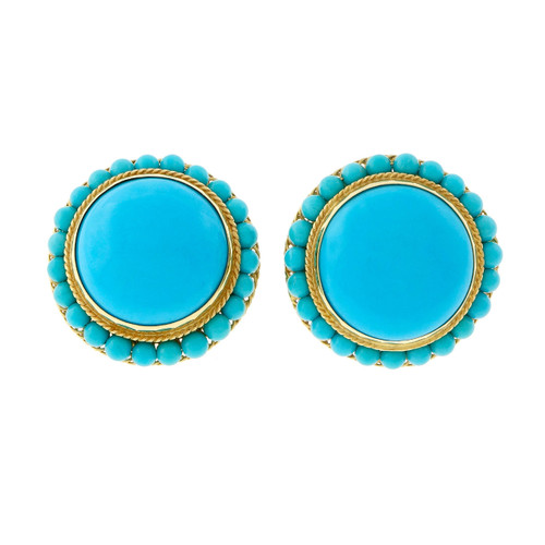 Vintage 1950 – 1960 Turquoise 18k  Yellow Gold Button Earrings