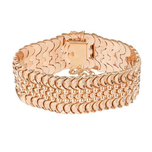 Mid Century 1950 Rose Gold Orosa Wide Hinged Link Bracelet