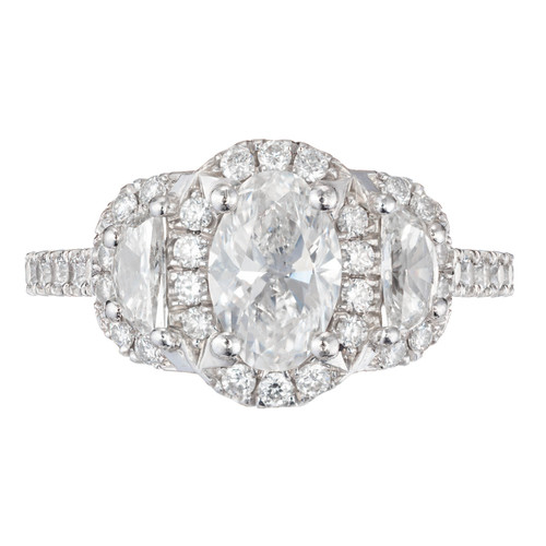 Peter Suchy .95ct Oval Half Moon Triple Halo Platinum Diamond Engagement Ring