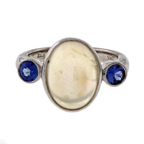 Peter Suchy 4.76ct Blue Moonstone Blue Sapphire 14k White Gold Bezel Set Ring
