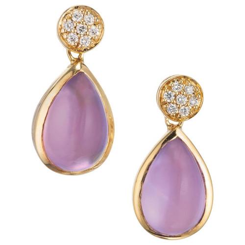 JMP Amethyst Mother Of Pearl Diamond 18k Yellow Gold Dangle Earrings