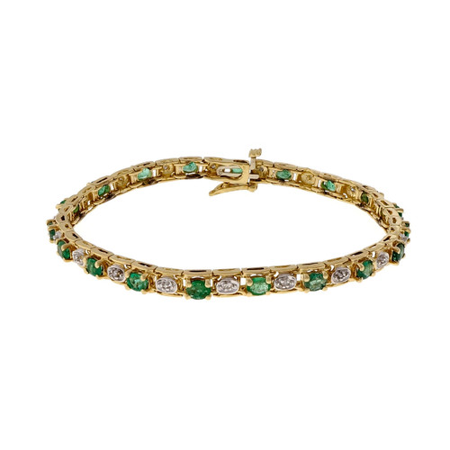 Estate 3.50ct Emerald 14k Yellow Gold Diamond Bracelet