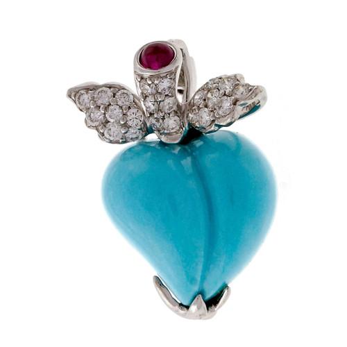 Designer CE Turquoise Diamond Ruby 3-D Heart Pendant Pin 18k White Gold