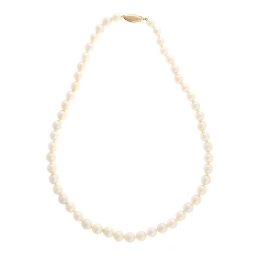 Estate 8mm Chinese Cultured Pearl 18 Inch Light Cream Color Necklace 14k