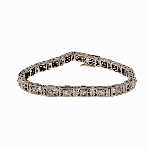 Vintage Filigree 1925 .34ct Diamond Hinged Link 14k White Gold Bracelet