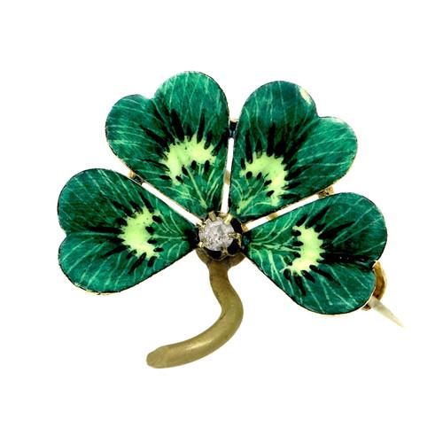 Vintage 1900 Four Leaf Flower Pin 18k Gold Green White Enamel Old Mine Diamond