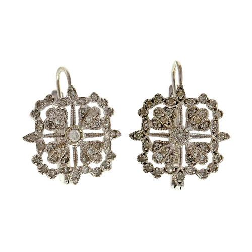 Estate CID .50ct Bead Set Diamond 14k White Gold Earrings